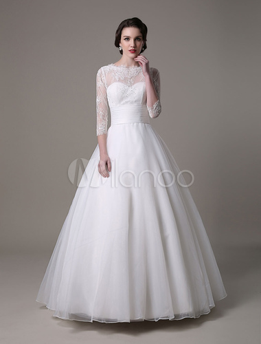 Princess Organza Lace Wedding Dress With 3/4 Sleeves And Beading ...