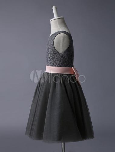 Graue Blumen-Mädchen-Kleid-Spitze-Tulle-Tutu-Kleid-Sleeveless ...