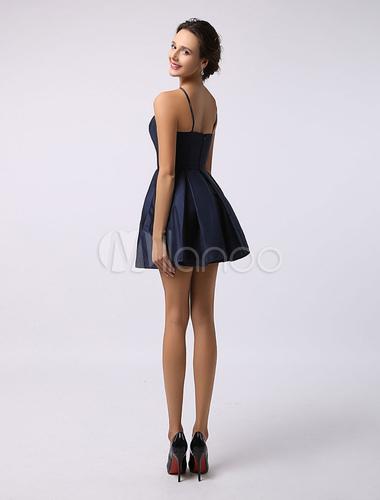 robe demoiselle d 39 honneur a ligne en satin bleu marine fonc bretelles d tail zip robes pour. Black Bedroom Furniture Sets. Home Design Ideas