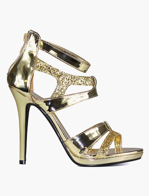 High heel wedding shoes golden bridal sandals glitter party high ...