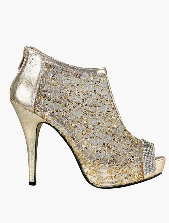 Alto Color Encaje Tacón Sandalias Boda Mujer Dorado De Zapatos xosBQCthrd