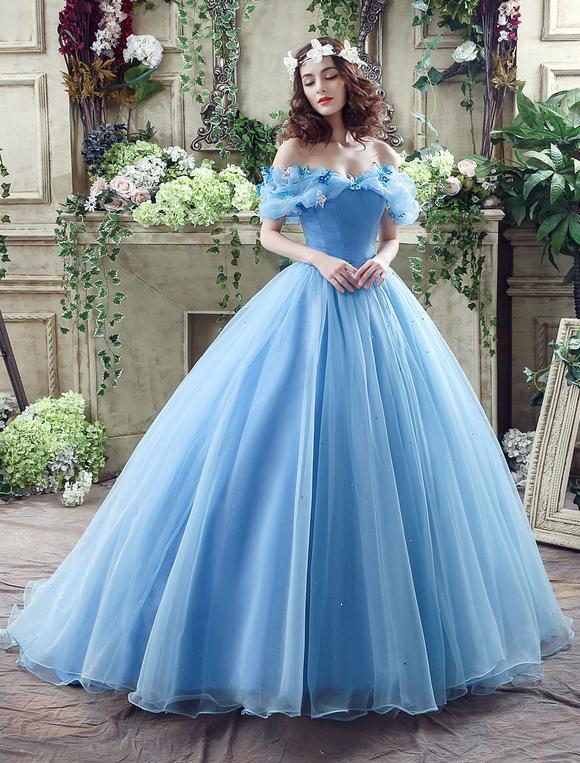 vestido de cinderela azul organza tulle fora do vestido de vestido
