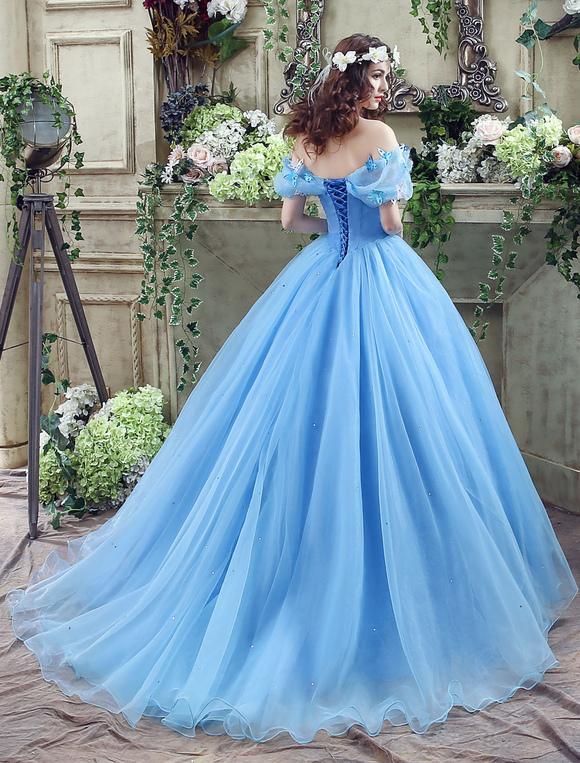 6e70001e617a ... Abito da Cenerentola in organza blu con tulle e abito da ballo con  scollo a barchetta ...