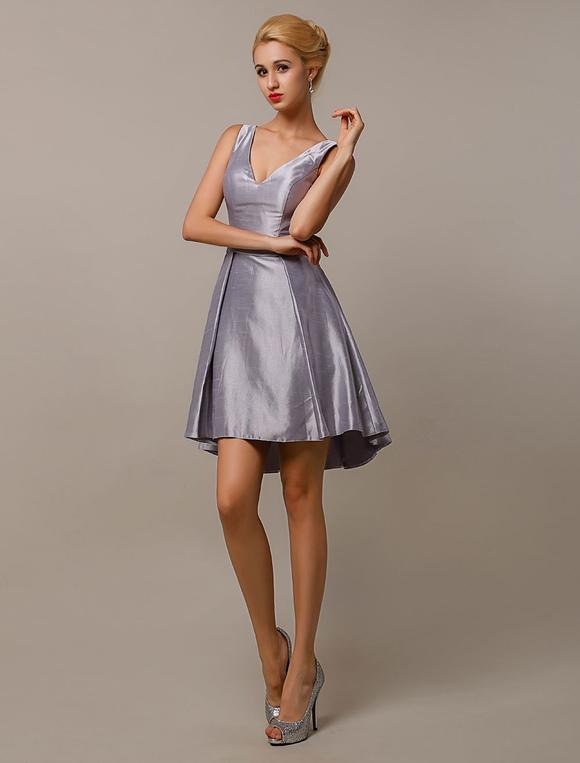 Silber grau brautjungfer kleider v ausschnitt taft kurz - Kleider milanoo ...
