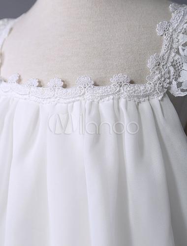 Blumenmädchen Kleid Boho Tiered Elfenbein abgestufte Spitze Chiffon ...