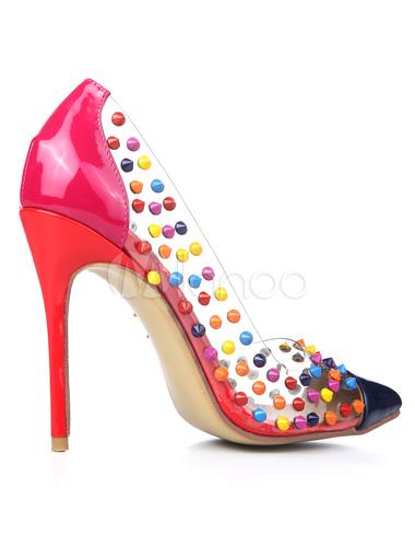 Remaches multicolor PVC dedo del pie puntiagudo tacón para las mujeres kG97fn
