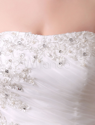 e1964304a59149 ... Ivory Wedding Dress Mermaid Strapless Tiered Rhinestone Tulle Wedding  Gown-No.5 ...