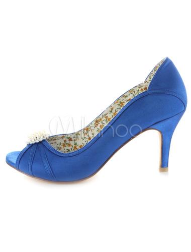 Zapatos Peep Toe de satén azul con pedrería wpMNW82