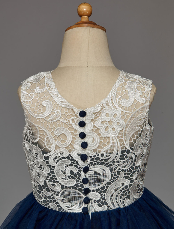 d1991f6395 Dark Navy Flower Girl Dress With Buttons Lace Tulle - Milanoo.com