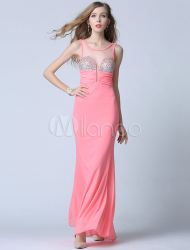 Rosa Prom Dress rückenfreie Illusion Perlen Abendkleid - Milanoo.com