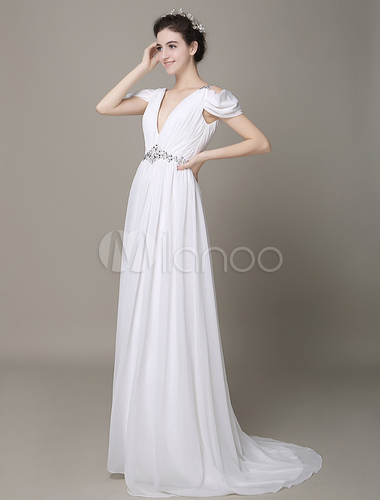 Ivory Wedding Dress Cold Shoulder Backless Beaded Chiffon