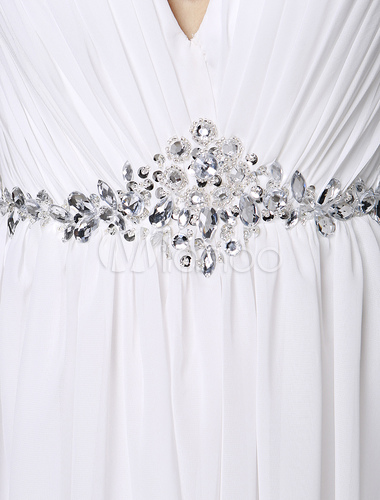 Ivory Wedding Dress Cold Shoulder Backless Beaded Chiffon Wedding Gown Milanoo