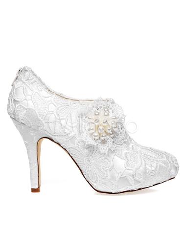 boda blanco perlas de de Botines encaje de flores 2 novia zapatos No S0FZzR
