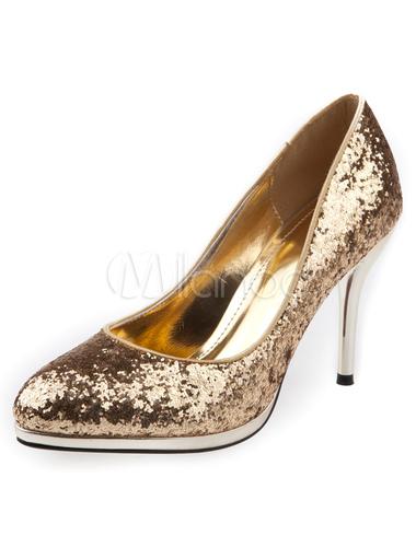goldene hochzeits pumps pailletten glitter heels f r frauen. Black Bedroom Furniture Sets. Home Design Ideas
