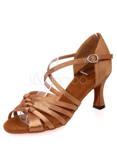 ... Danse latine rouge sandales Criss Cross bretelles Satin talons pour  femmes -No.4 ...