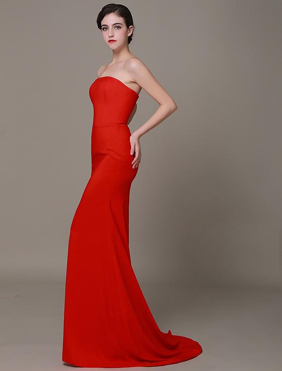 Rot Prom Kleid 2018 Satin Mantel Abendkleid Classic Strapless ...