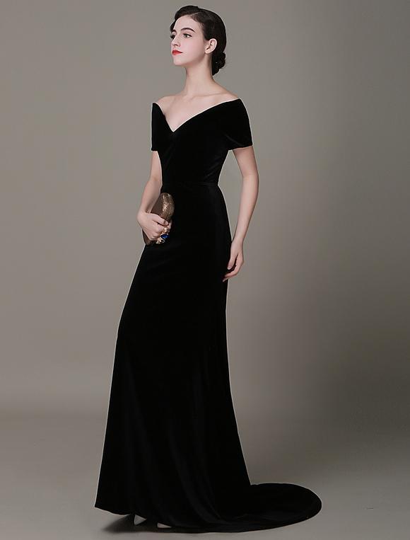 f712d691ebd4 ... Abito da sera a sirena vintage di velluto Lady Gaga Red Carpet abito  Milanoo-No ...