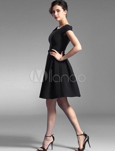 Schwarzes Kleid knielang Rüschen Partei Kleid - Milanoo.com