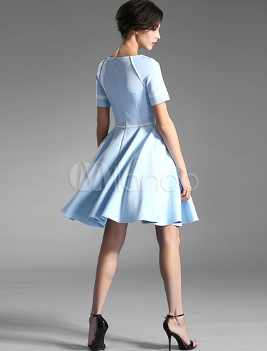 Light Blue Flare Dress Ruffles Knee Length Slim Fit Party