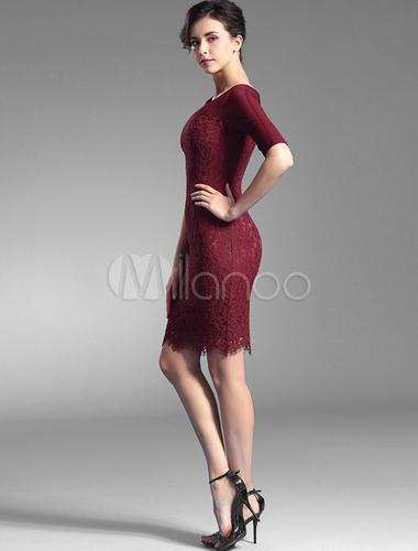 hot sale online fc0c3 6b81a Bordeaux Bodycon Abito pizzo ginocchio-lunghezza Slim Fit vestito da partito