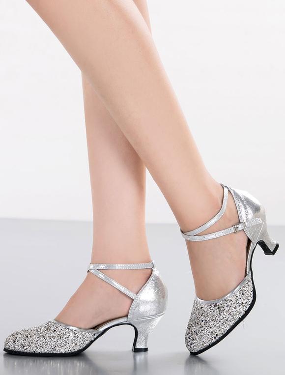 Zapatos de fiesta 2018 Danza de plata sandalias correas brillo tacones para las mujeres eK56nbeQlm