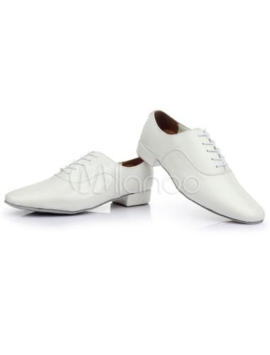 Danza negra con encaje zapatos patente PU pisos para hombres k1F8Psr6VE