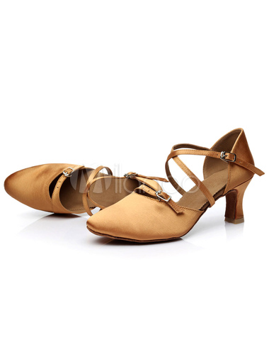 Danza de la luz marrón sandalias satén tacones para las mujeres