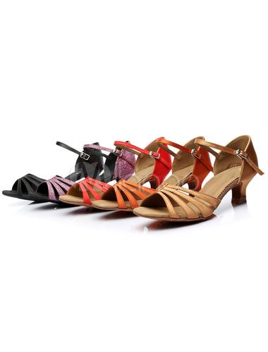 Sandalias de baile latino tirantes naranja Moda satén tacones para las mujeres vaNgSH