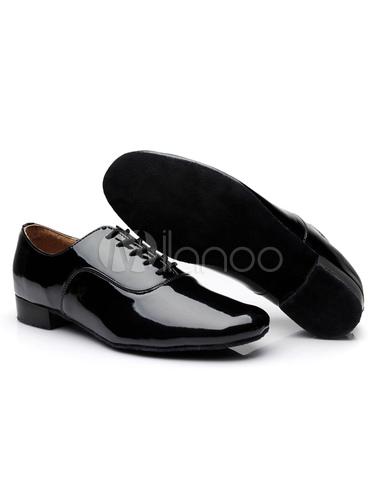 Danza negra con encaje zapatos patente PU pisos para hombres uJ4DCHwB