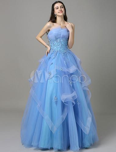 Blaue Marone Prom Kleid mit trägerlosen ärmellose Applique - Milanoo.com