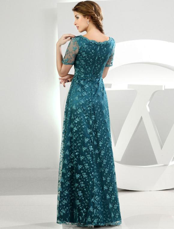 Spitzen-Mutter der Braut Kleid dunkel grün mit kurzen Ärmeln ...