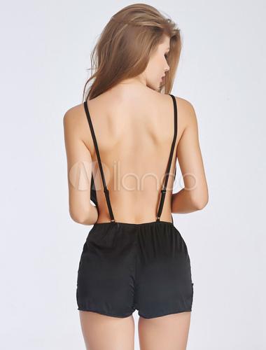17c8809059 Black Straps Bodysuit Low Cut Lace Silk Sexy Chemise - Milanoo.com