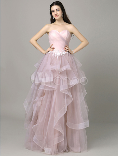 Rosa Prom Dress Sweetheart Pleated gestuften Tüll trägerlos ...