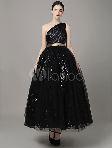 Ein-Schulter Pailletten Abendkleid asymmetrisch Schärpe Satin Prom ...