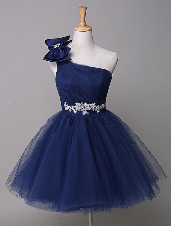 Milanoo / One Shoulder Prom Dress Royal Blue Tulle Homecoming Dress Beading Bow Mini Party Dress