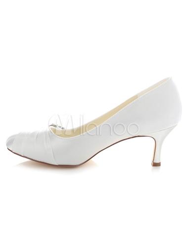 bow braut pumps wei schicke strass satin hochzeit heels. Black Bedroom Furniture Sets. Home Design Ideas