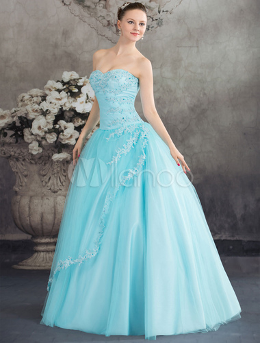 Wedding Dress Ball Gown Lace Bridal Gown Strapless mint green ...