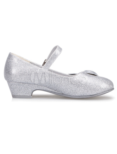 f27ea7b3249 Silver Flower Girl Shoes Bow Straps PU Shoes for Girls - Milanoo.com