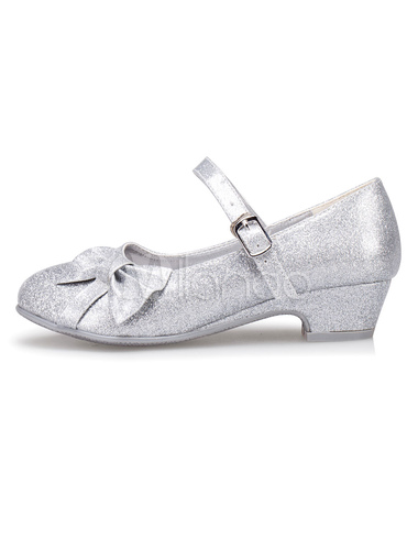 Silver Flower Girl Shoes Bow Straps