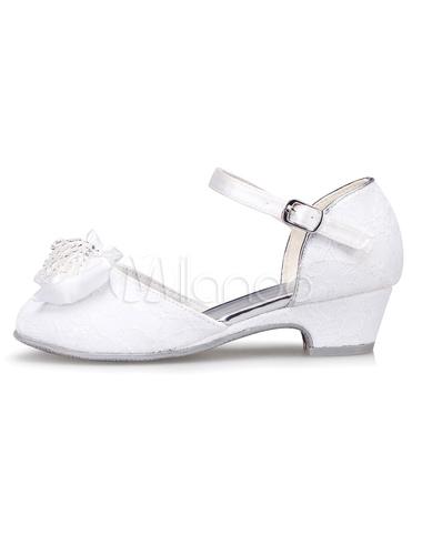 672b89a4d ... Arco sandalias de niña de las flores blancas correas de la PU zapatos  para niñas ...