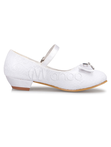 fd02efb39 ... Lazo blanco niña de las flores las correas PU zapatos para niñas -No.  ...