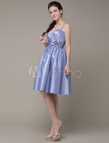 Milanoo / Sweatheart Cocktail Dress Spaghetti Straps Taffeta Pleated Sash Flower Knee Length Prom Dress Milano