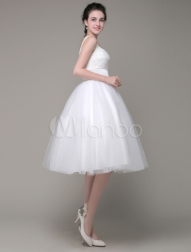 Lace Prom Dress A-Line Straps Tulle Knee-Length Quinceanera Dresses Milanoo