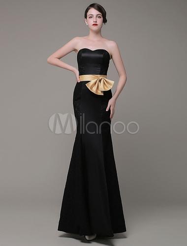 Long Prom Dress Mermaid Sweatheart Satin Sash Bow Floor Length Evening Dress Milanoo