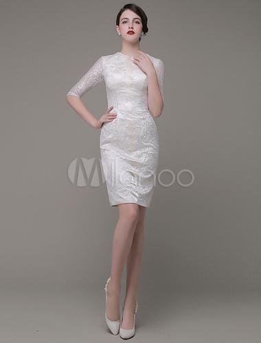 Scheide mutter der braut kleider juwel knielangen spitze - Kleider milanoo ...