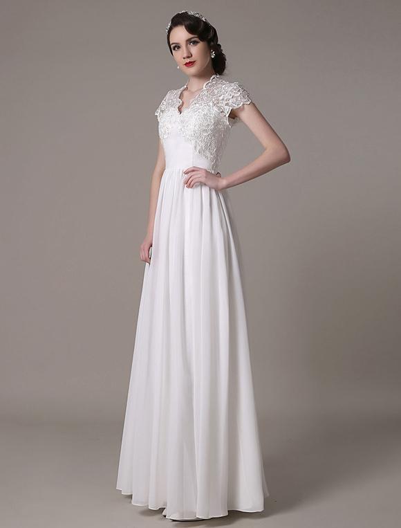 Robe de mariage ivoire chic taille empire avec dentelle for Robes de mariage de taille empire