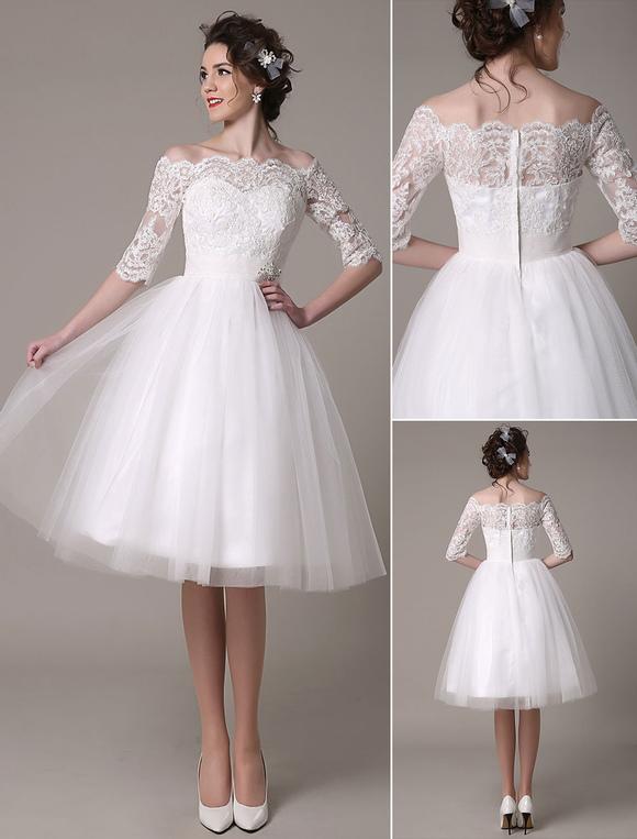 Lace Wedding Dress A-Line Knee Length Waist Rhinestone Bridal Dress Milanoo