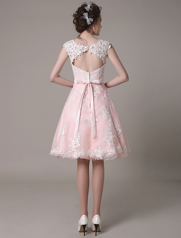 Lace Wedding Dress Cut Out Knee Length A-Line Bridal Dress With Satin Bow Milanoo