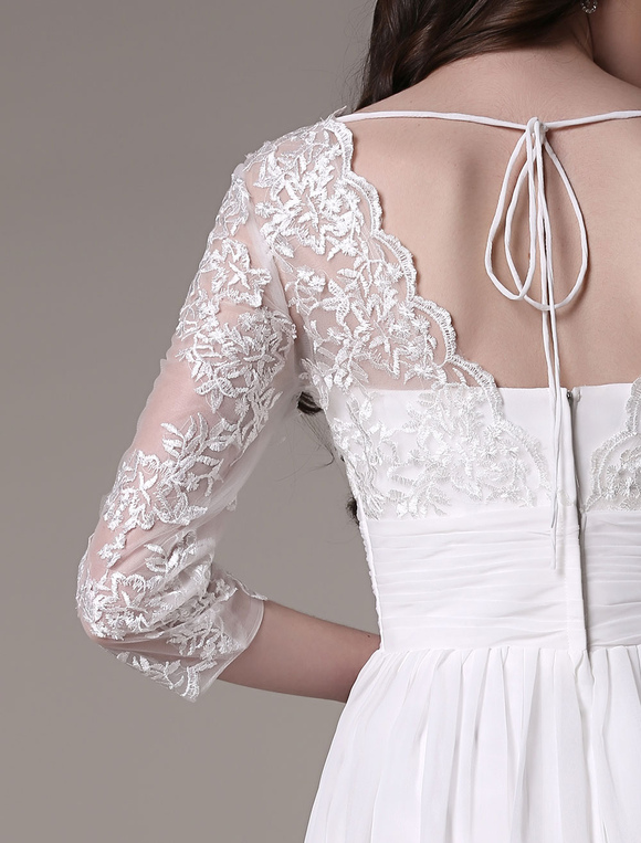 Knee-Length Wedding Dress V-Neck Lace A-Line Chiffon Pleated Bridal Dress Milanoo