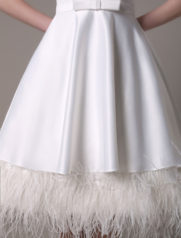 A-Line Wedding Dress Knee-Length Feather Tiered Satin Bow Bridal Dress Milanoo